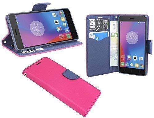 ENERGMiX Buchtasche Hülle Hülle Tasche kompatibel mit Lenovo K6 Note (5,5 Zoll) Wallet BookStyle mit Standfunktion in Pink-Blau (2-Farbig