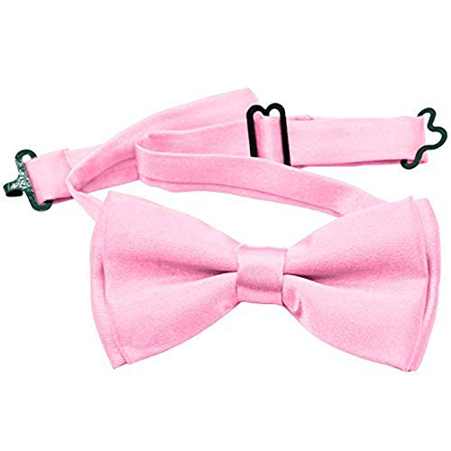 Bow Tie For Kids - Stylish Pre Tied Bow Ties for Boys and Girls - Adjustable Length by FOREER (Light Pink)