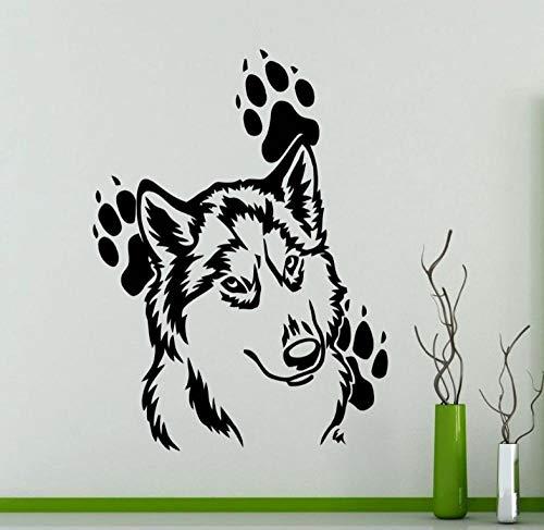 Etiqueta De La Pared Calcomanía Mural 45X60cm Cabeza De Lobo Con Huellas Vinilo Tatuajes De Pared Pegatinas Hogar Animales Impermeables Murales De Papel Tapiz De Arte