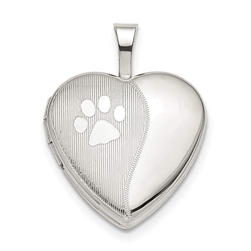 925 Sterling Silver 16mm Paw Print Heart Photo Pendant Charm Locket Chain Necklace That Holds Pictures Animal Fine Jewelry For Women Gifts For Her