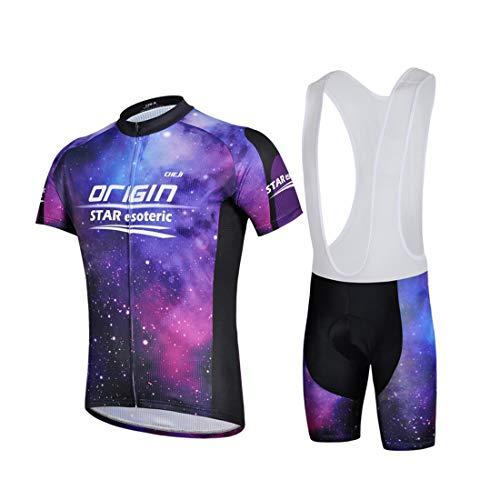 GWELL Herren Radtrikot Galaxie Fahrradbekleidung Set Trikot Kurzarm + Trägerhose mit Sitzpolster für Radsport Outdoor Violett L