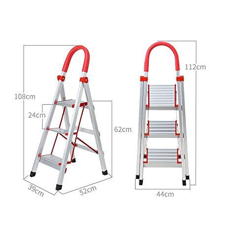 YZQ Stap Krukken Aluminium Huishoudelijke Ladder Vouwen Draagbare Escalator Drie-Stap Ladder Trappen Verdikking RVS Interieur Woord Ladder Kruis Keuken Kantoor Ladder 3 Kleur: wit