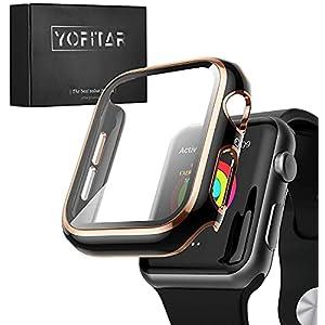 『2021改進版』YOFITAR Apple Watch 用 ケース series6/SE/5/4 44mm アップルウォッチ保護カバー ガラスフィルム 一体型 PC素材 全面保護 超薄型 装着簡単 耐衝撃 高透過率 指紋防止 傷防止 ブラックとローズゴールド