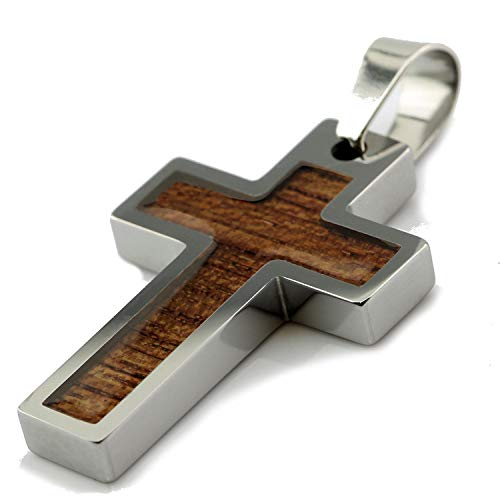 "MJ Metals Jewelry Tungsten Carbide Hawaiian Koa Wood Cross Pendant Necklace 32"" SS Wheat Chain"