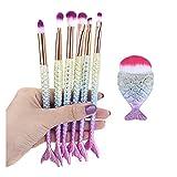 YNLRY 7/10 piezas Kit de brochas de maquillaje natural Mermai Cosméticos Fundación Set de bronceador sombra de ojos labios artista sirena resaltador cara (color morado)