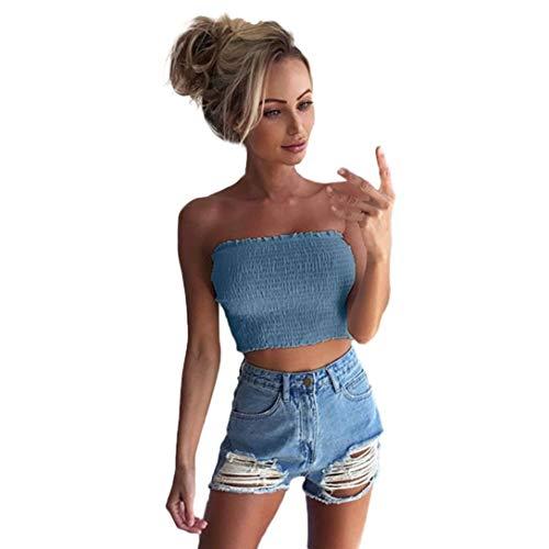 QinMM Camiseta sin Tirantes de Mujer, elásticas Tank Estampado Rose Boob Bandeau Tops Sujetador de lencería Camisa (Azul, L)