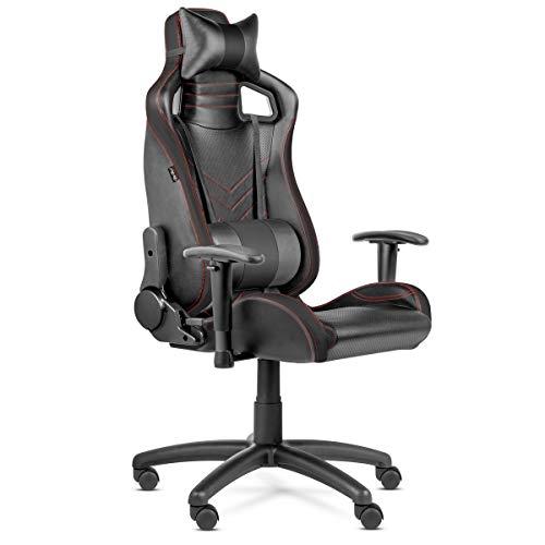 McHaus Negra Silla Gaming Pro ergonómica, Ajustable, con reposacabezas y cojín Lumbar, reclinable, PU de Calidad y Acolchado de Espuma de Alta Densidad y Tejido 3D Que minimiza el Sudor, Regulable
