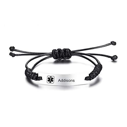 NJ Adjustable Medical Alert Bracelet Addisons - Stainless Steel Handmade Cord Medic ID Health Alert Link Bracelets Wristband Medical Jewellery for Men Women