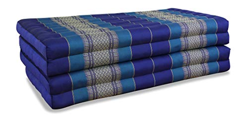 livasia Klappmatratze extrabreit (195cm x 110cm) aus Kapok, Faltbare Gästematratze, klappbare Matratze, asiatische Faltmatratze (blau)