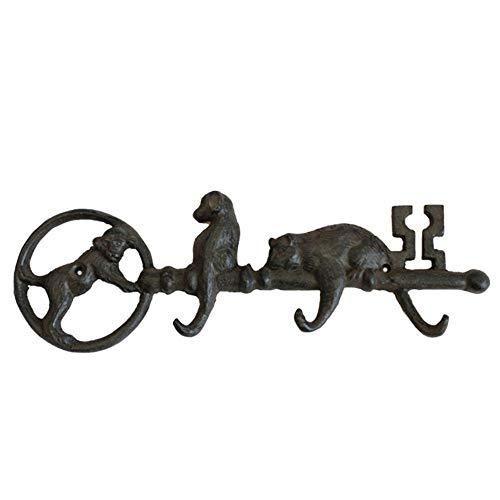 Gietijzeren kapstok met Cast Iron kat en hond sleutel Hook Vintage Metalen decoratie Coat hoed Handdoekhaak Heavy Rustic Vintage Inclusief Montageschroeven Hoeden Badjassen Handdoeken Sleutels