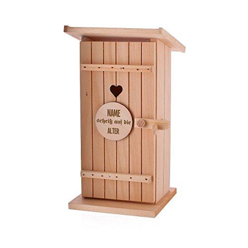 Lustapotheke® Geschenkverpackung Toilettenhäuschen mit Gravur zum Geburtstag - mit Wunschnamen und Alter