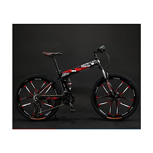 GWL Bicicleta Plegable para Adultos, 24 26 Pulgadas Adecuada, Bicicleta de montaña prémium para niños, niñas, Hombres y Mujeres/Red / 26inch