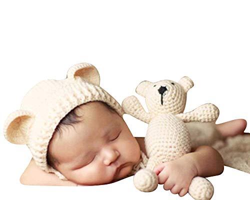 Neugeborenen Fotoshooting Kostüm Junge Mädchen Bär Mützen Fotographie Prop Crochet Geschenk Baby Kleidung Neuborn Beige