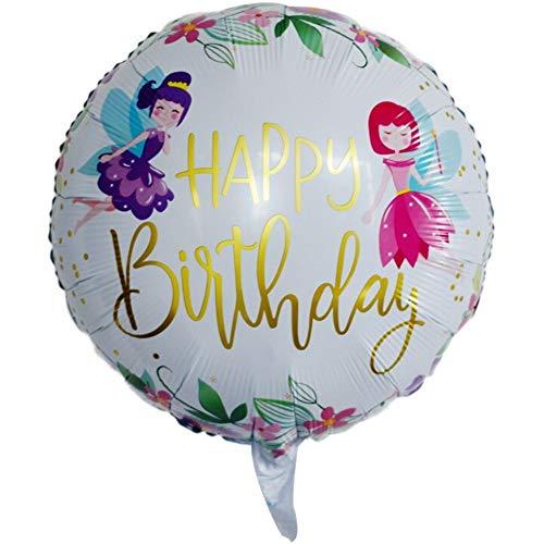 DIWULI, Geburtstags Fee Luftballon Happy Birthday, Folien-Luftballon süß, Geburtstagsballon, Folien-Ballon weiß für Geburtstag, Mädchen Kindergeburtstag, Party, Dekoration, Geschenk-Deko, Zauber