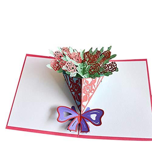Shumu Tarjeta de agradecimiento hecha a mano con flores 3D Pop Up Tarjetas de Acción de Gracias Día de la Madre Tarjetas de regalo de felicitación con sobre para mamá
