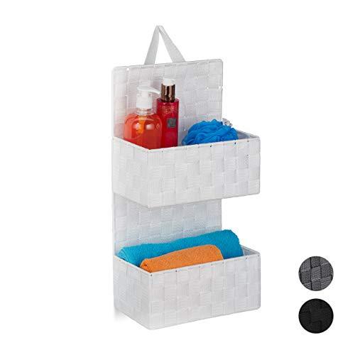 Relaxdays Hängeorganizer Stoff, 2 Fächer, Schlaufe zum Aufhängen, Türorganizer Bad, PP Körbe, HBT: 48 x 25 x 15 cm, weiß, 1 Stück