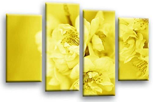 KOPASD 4 Paneles Pintura de la Lona Mural Flor de Primavera Amarilla Floral Arte Fotos Paisaje Imprimir Decoración Moderna del Ministerio del Interior Sin Marco 160 * 100cm