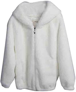 Women Winter Warm Thick Fuzzy Soft Coat Solid Caps Hooded Wool Jacket Cardigan Loose Coat