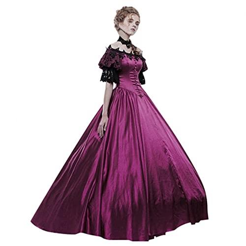 Julhold Vestidos de baile de corte gótico para mujer, manga corta, encaje vintage, vestido de noche, disfraz de Halloween (morado, XXL)