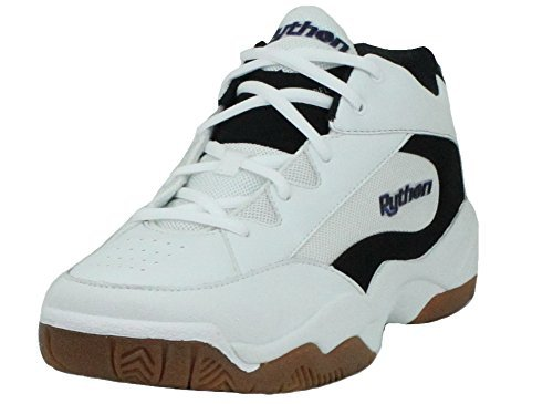 Python Wide (EE) Width Indoor Mid Racquetball (Squash, Indoor Pickleball, Badminton, Volleyball) Shoe (White; Size 10.5)