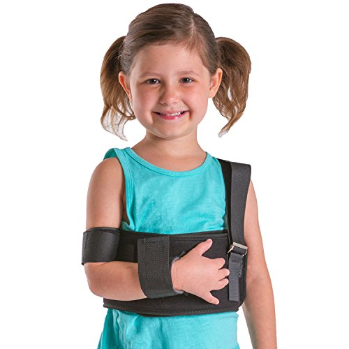 "BraceAbility Pediatric Shoulder Immobilizer | Child Size Arm Sling Stabilizer for Broken Collarbone & Shoulder Injuries - Fits Toddlers, Kids, Youth & Teens (20"" - 30"" Chest Circumference)"