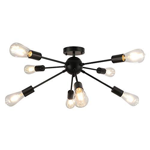 LynPon Vintage Sputnik Deckenleuchte Schwarz, 8 flammig Industriell Kronleuchter, Retro Deckenlampe Kronleuchter Rustikaler Stil für Landhaus, Esszimmer, Wohnzimmer, Küche