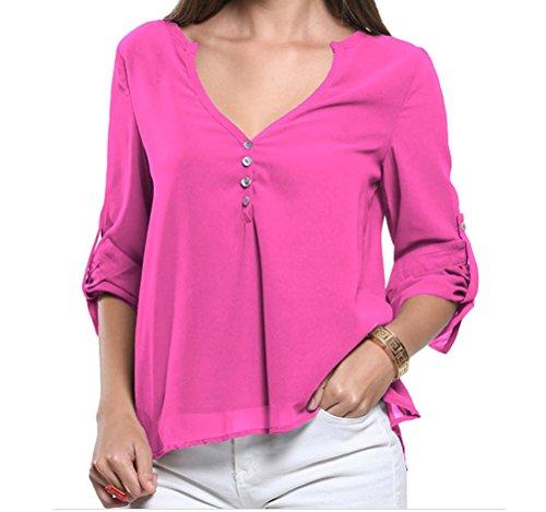 YFFaye Women's Rosy V-Neck Button Detail Dip Back Blouse Top