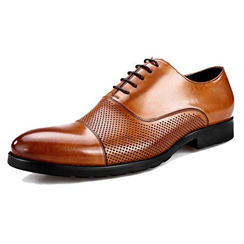 Houozon Männer Ledersandalen, Oxford Lace Up Schuhe Klassische Business Formale Kleid Schuhe Beiläufige Wohnung für Arbeit Party Hochzeit,Braun,39EU