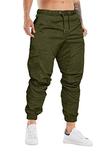 Cindeyar Herren Hosen Slim Fit Casual Jogger Sporthose Freizeithose Cargo Chino Jeans Hose (M, Armeegrün 01)