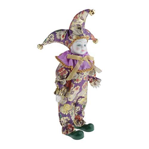 Toygogo Porzelan Puppen 39cm Miniatur Porzellanpuppen Mädchen Puppe Sammelstück - Lila