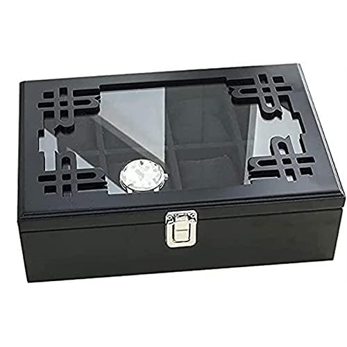 KMDJ Caja de almacenamiento Wood Watch Box Whebry Watch Soporte Soporte Caja de almacenamiento 8 Reloj de célula Caja de visualización con tapa de vidrio Caja de joyería de estilo chino Caja de joyerí