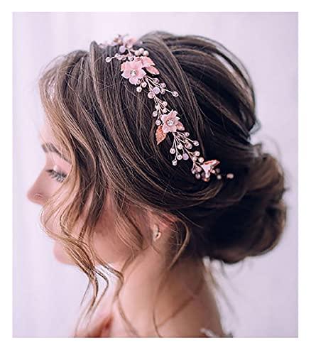 Unicra Diadema de flores para novia de boda, accesorio para el cabello de novia para mujeres y niñas (oro rosa)