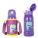 olyee Botella de Agua con Pajita para niños, Taza térmica de Acero Inoxidable con Soporte para el Hombro y Tapa de Repuesto, aislada a Prueba de Fugas, Tapa abatible