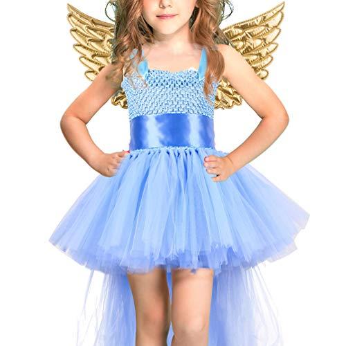 Holibanna Vestido Tut de Hada para Nias Disfraz de Halloween con Alas Doradas Fiesta de Navidad para Nios Disfraz de Princesa Cosplay para La Edad de 5-6 Aos
