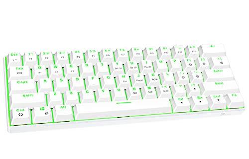 FUHLEN G610 Kabellose mechanische Gaming-Tastatur, 60% Layout 61-Tasten kompakte Mini-Bluetooth-5.0-Tastatur, grüne Hintergrundbeleuchtung, Cherry MX Rote Schalter(weiß)