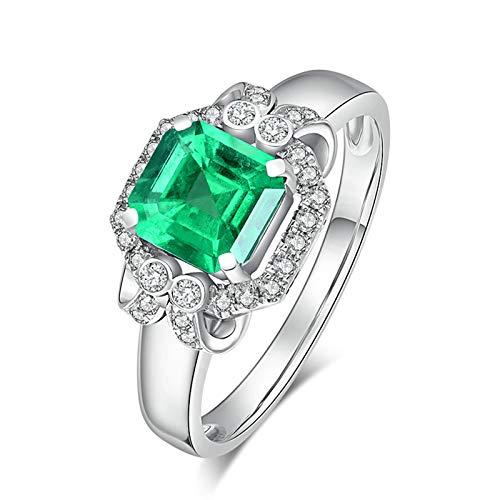 KnSam Bague Femme Fine Émeraude 0.91ct Diamant Fastueux, Or Blanc 18 Carats Élégance Cadeau Noël