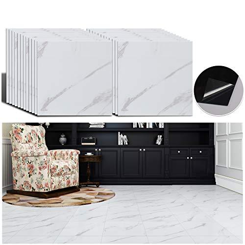 Veelike patrón de piedra blanca autoadhesivo azulejos adhesivos para suelo impermeable suelo de mármol cocina baño decoración renovación del hogar 30 cm x 30 cm 24 piezas VLE-VKUV-015-JZWT-24