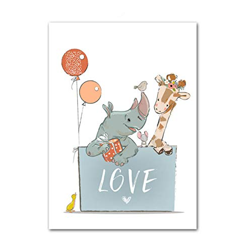 XIANGPEIFBH Print Canvas Posters Painting Giraffe Rhino Love Gift Wall Art Cartoon Nordic And Wall Pictures For Kids Room Boy 40x60 cm/15.7' x 23.6' No Frame