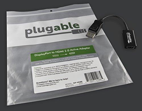 Up to 4k // UHD // 3840x2160@60Hz Plugable Active DisplayPort DP to HDMI Adapter