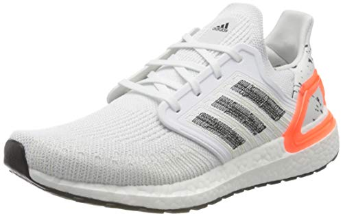 adidas Ultraboost 20, Men's Running Shoe, Ftwr White/Core Black/Signal Coral, 7 UK (40 2/3 EU)