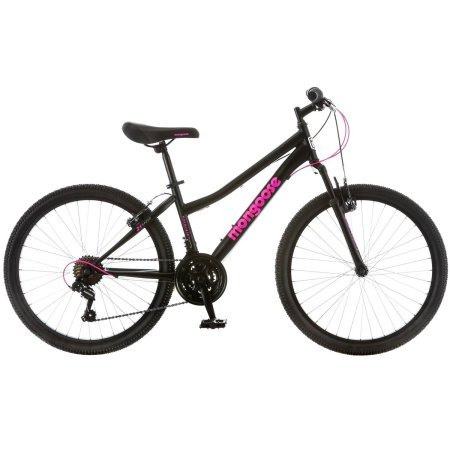 "24"" Mongoose Excursion Girls' Mountain Bike, Black/Pink"