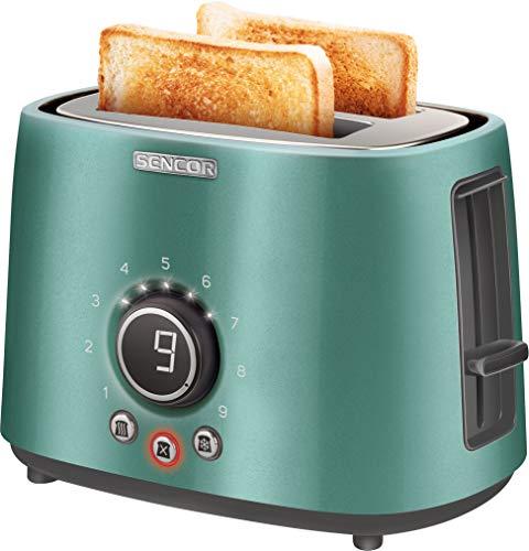 SENCOR STS 6051GR 2-Scheiben-Toaster (1000 Watt, Elektronischer Timer - 9 Stufen der Röstintensitätr) türkis