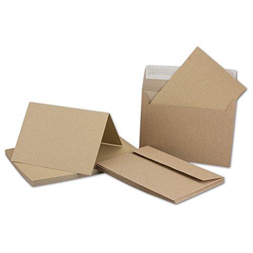 25 Doppel-Karten mit Briefumschlägen aus Öko-Kraftpapier, DIN A6/C6, Falt-Karte:10,5 x14,8 cm, Umschlag 11,4x16,2 cm, blanko