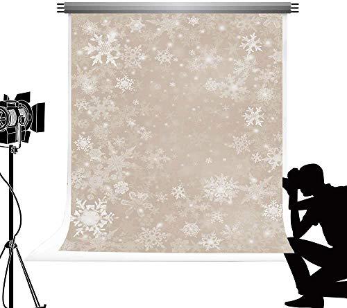 Kate Alta Textura Microfibra 5x7ft/1.5x2.2m Christmas Backdrop Fondo Copo Nieve Baile Blanco Fondo Foto Bokeh Beige Fondo Fiesta Tema Navidad para Photography Studio