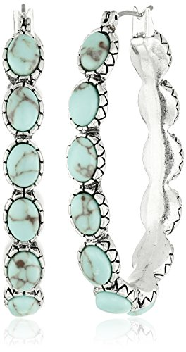 Lucky Brand Womens Oblong Turquoise Inlay Hoop Earring -$14.99(48% Off)