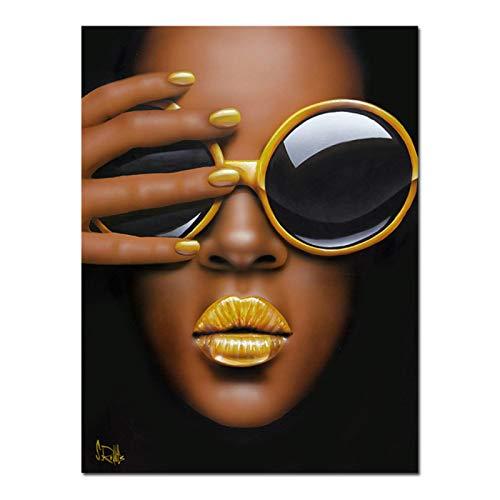 Impresión en lienzo Pintura de lienzo Chica con gafas y labios amarillos Póster e impresiones Retrato Arte de la pared Imágenes Sala de estar Decoración del hogar 60x90cm / 23.6 'x35.4' Sin marco