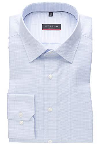 eterna Herren Hemd Langarm Modern Fit | Modern-Kent Kragen| bügelfrei knitterfrei in Hellblau-Weiß strukturiert | 42