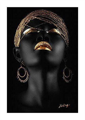 ZSLMX Arte De La Pared Impresa Lienzo Mujer Afroamericana Mujer Negra Pintura Modelo Moda con Labios Sexy Dorados Maquillaje En La Cara Ilustraciones para La DecoracióN Sala Estar, Sin Marco,60x80cm