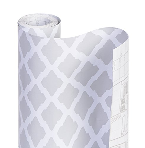 Smart Design Shelf Liner Adhesive - (18 Inch x 20 Feet) - Drawer Cabinet Paper - Kitchen [Metro Gray Lattice]