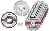 kwb 712042 Disco de corte de diamante fino para amoladora angular 125 mm disco flexible para acero inoxidable en caja de almacenamiento incluye tapones y disco abrasivo ABM. 125 x 1,0 x 22,24.